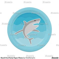 Shark Pool Party Paper Plates
