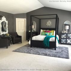 Elegant Bedroom Accent Wall | Contempo Trellis Wall Stencil by Royal Design Studio