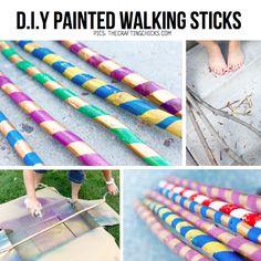 DIY Painted walking sticks