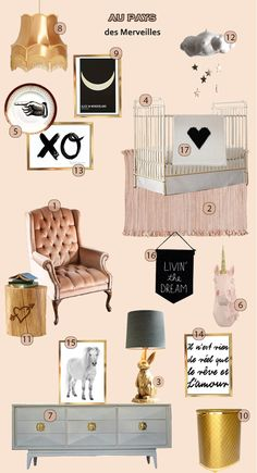 1. Chaise   2. Tapis   3. Lampe   4. Lit   5. Assiette   6. Licorne   7. Commode   8. Lustre 9. Alice in wonderland   10. Panier   11. Table d'appoint   12. Mobile   13. XO   14. Cheval   15. Citation   16. Dream believer   17, Couverture