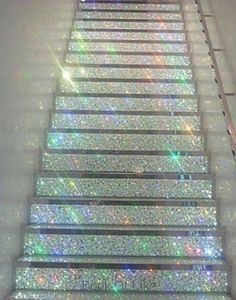 How To Make An Amazing Shimmering Glittery Staircase or Glitter Stairs Instructions <3 Wish I Still Had Indoor Steps, Maybe I Will Try This DIY On My Outdoor Deck. :)