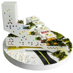 FOCO archive: GABON Ministry of Parks elevation of model showing market bridge and cascading helipads #urbanism #architecture #foco