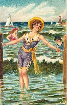 Bathing beauty vintage postcard 03.  ~ When Postcards Were the Social Network