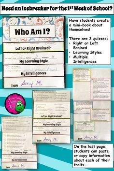 Need a back to school activity?  This easy-to-assemble layered flap book has quizzes for left  right brain, the learning styles, and the multiple intelligences.   The last page has room for students to right information about their results, which is provided for you in the activity.  Great way to begin a discussion on study skills.  I did this with my own kids (4th and 8th grades), and both had an easy time completing it.  Great activity for 3-8 grades. $