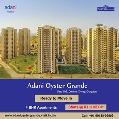 Adani Realty Presenting Adani Oyster Grande 4 BHK Luxury Apartments in sector 102 gurgaon. Oyster Grande sprawling a new abode spread over 19 acres on Dwarka Expressway. Call @ 90158-9999 to know more in detail #Adanioystergrande #AdanioystergrandeDwarkaExpressway #AdaniOysterGrandeGurgaon #AdaniOysterGrandeSector102Gurgaon #adanim2koystergrande #oystergrande #gurgaonproperties Apartments For Sale, Luxury Apartments, Chandigarh, Pent House, Oysters, Acre, Greenery, Modern Design, Flats