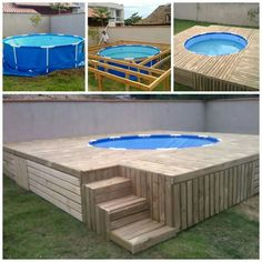 Summer is coming which means you'll need to cool off in the pool! Here's a great idea. Build a swimming pool deck and coat it in Flex Seal! Looks easy & cheap to make. Building A Swimming Pool, Swimming Pool Decks, Building A Deck, Piscina Pallet, Piscina Diy, Above Ground Pool, In Ground Pools, Outdoor Projects, Pallet Projects