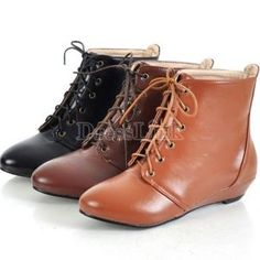 New Fashion Lace Up Round Toe Women Leather Ankle Flats Boots Shoes Girl fashion shoes shoes Lace Up Wedge Boots, Leather Lace Up Boots, Lace Up Wedges, Flat Boots, Leather Wedges, Bootie Boots, Shoe Boots, Ankle Boots, Combat Boots