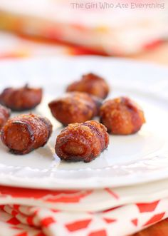 Bacon Wrapped Water Chestnuts Soak the water chestnuts in soy sauce for 4+ hours. Wrap them in bacon. Roll them in brown sugar. Bake until crispy. These were amazing!