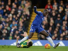 21 November 2015 / Chelsea 1-0 Norwich: Chelsea's Kurt Zouma (right) flattens Norwich's Robbie Brady as the two sides cancelled each other out during the first period. Chelsea eventually broke the deadlock in the second half and won the match, with a sole goal from Diego Costa...