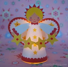 Christmas DIY Decorations - Starry Christmas Angels ~ a sweet paper printable to… Christmas Angel Crafts, Winter Christmas, Holiday Crafts, Christmas Holidays, Christmas Decorations, Christmas Ornaments, Holiday Decor, Christmas Activities, Christmas Printables