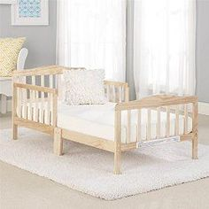 Big Oshi Contemporary Design Toddler & Kids Bed - Sturdy Wooden Frame for Extra Safety - Modern Slat Design - Great for Boys and Girls - Full Bed Frame With Headboard, in White White Headboard, Bed Frame And Headboard, Bed Wall, Headboards For Beds, Girls Full Bed, Small Baby Cribs, Toddler Day Bed, Full Bed Frame, Portable Crib