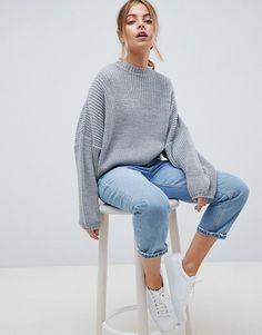 ASOS Petite   ASOS DESIGN Petite chunky sweater in crop with volume sleeve