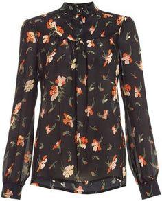 : Vilshenko Black Silk Floral Bib Blouse