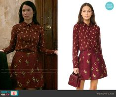 Alice + Olivia Willa Shirt and Loran Skirt in Pelican Print worn by Lucy Liu on Elementary