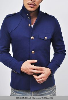 Outerwear-Street-edge High-neck Navy Gakuran-Jacket 18    CODE: bunttogeumjangsingle  Price: $74.00