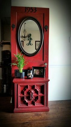 DIY Furniture Plans & Tutorials : DIY Hall tree An old door from my grandmother's house and add an old table f