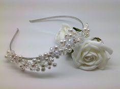 Bridal Tiara Pearl & Crystal Side Set Wave Blossom by IDoTiaras, $42.00