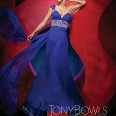 Tony Bowls Royal Blue Chiffon Gown