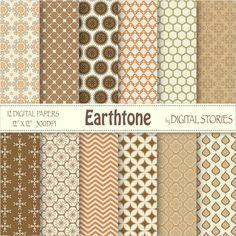 Morocccan Digital Paper: EARTHTONE Orange Brown by DigitalStories