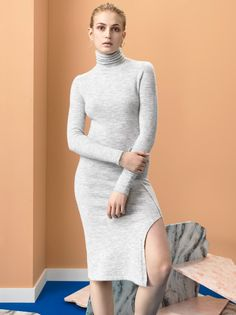 Cacharel | Fall 2016 Ready-to-Wear | 13 Grey knit long sleeve midi dress with side slit