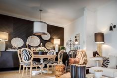 Black and White Rustic - Ana Antunes Interior Designer - black wall - zebra chairs - geometric rug - chevron wood panneling