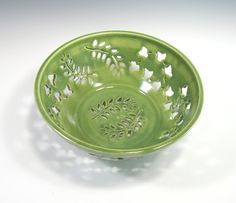 Fruit Bowl  Colander  Hand Carved  Stoneware by GlyntPottery, $160.00