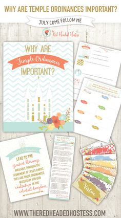 Why are Temple Ordinances Important? July Young Women lesson helps! This printable teaching package is amazing and so helpful! Includes personal progress experiences too! www.theredheadedhostess.com