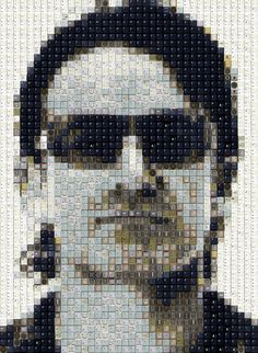 celebrity keyboard portraits by artist WBK : mosaic artworks from discarded or outdated components from keyboards : 'Bono'