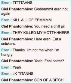 Attack on Titan/Black Butler. XD. This conversation is very much possible.