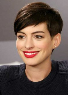 Anne Hathaway showing the many ways she wears a pixie
