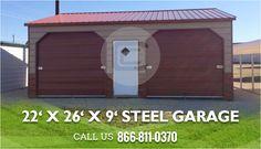 9 x 8 garage door24 x 46 x 12 Vertical roof style side entry metal Garage