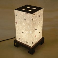 Fl Lighting Table Lamp Paper Shade With Flower Design