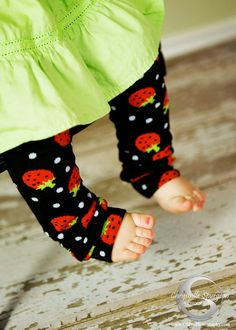 Baby Leg Warmers and Toddler Leg Warmers -- black strawberries. $8.00, via Etsy.
