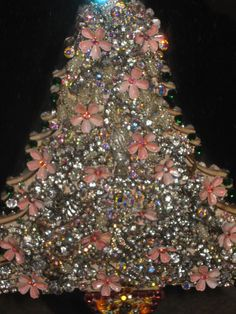 Vintage Antique Jewelry  Rhinestones JEWELED Christmas TREE & FRAME