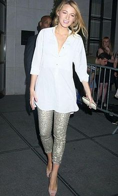 Costume Dept for Revolve Exclusive Sequins Leggings in Silver Ralph Lauren Tuxedo Shirt Christian Louboutin Very Prive Pumps in Nude.