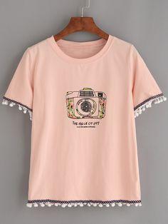 Pink Pom Pom Trim Camera Print T-shirt