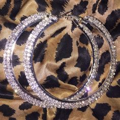 Rhinestone Jewelry Jewelry - LAST 1 Silver rhinestone hoops bling earrings