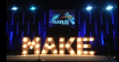 """Alan Huerta from West McKinley Church in Fresno, CA brings us this """"made"""" stage design. They went to Catalyst Conference about 6 months ago and saw a similar design with 3 dimensional wood structur. Stage Set Design, Church Stage Design, Theatre Design, Bühnen Design, Design Ideas, Stage Props, Marquee Letters, Backdrop Design, Kids Church"""