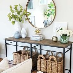 Entry way decor! The wood console table is on sale along with some of the decor! Home decor Home furniture Farmhouse Modern Pottery barn Vases mirror Flur Design, Style At Home, Home Fashion, Entryway Decor, Entrance Table Decor, Pottery Barn Entryway, Entryway Ideas, Hallway Ideas, Front Entry Decor