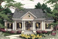 House Plan 406-285 (Good plan, push whole front wall out  to enlarge; kit nook, dining room & 2 front bedrooms.)***********