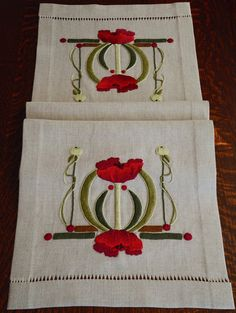 Poppies Table Scarf Craftsman Mission Style Hand by paintbythread