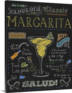 Fiona Stokes-Gilbert Premium Thick-Wrap Canvas Wall Art Print entitled Margarita, None Bar Drinks, Cocktail Drinks, Alcoholic Drinks, Beverages, Chalkboard Signs, Chalkboards, Chalkboard Restaurant, Chalkboard Pictures, Chalkboard Lettering