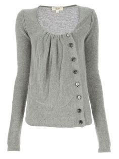 Grey sweater with off set buttons..cute
