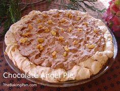 Chocolate Angel Pie Recipe  The one I saw made a chocolate custard from  three egg yolks with 1 one half tbs sugar one half tsp salt  one half cup half half warned mixed w 14 oz melted chocolate. Chill and fold in some whipped cream Cool and add topping of whipped cream