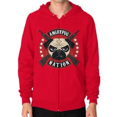 ANGRYPUGNATION Zip Hoodie (on man)