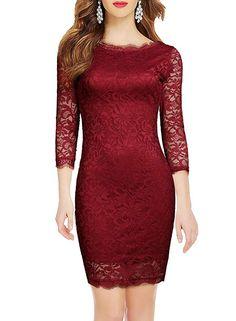 ed5dd821f38c WOOSEA Elegant 3/4 Sleeve Full Flroal Lace Short Cocktail Dress (Medium,  Burgundy