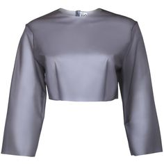 Sydney-Davies - Grey Clouds I (1.580.490 VND) ❤ liked on Polyvore featuring tops, grey top, sheer crop top, gray crop top, transparent tops and cropped tops