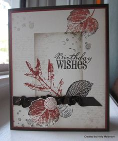 Clear block shadow stamping using the French Foliage stampset in Cajun Craze and Early Expresso ink