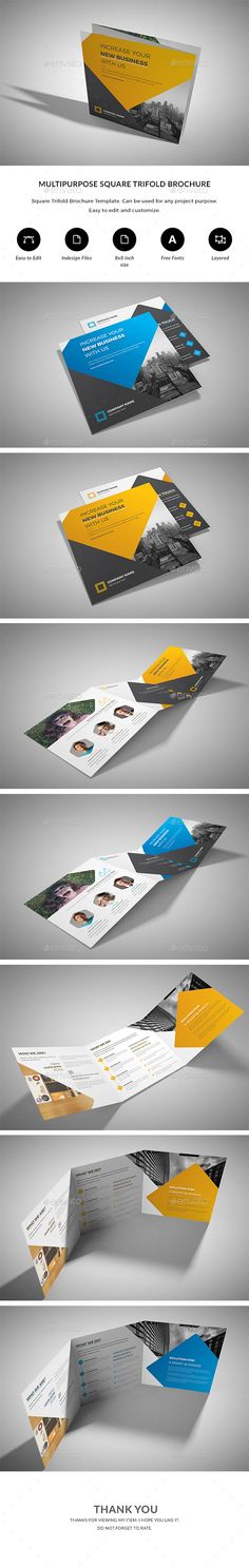 Square Trifold Brochure #geometric #museum  • Download here → https://graphicriver.net/item/square-trifold-brochure/20159946?ref=pxcr