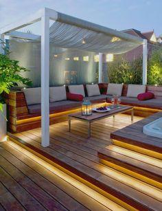 interior design: small terrace design hang terrace modern, garden ideas - All About Balcony Outdoor Decor, House Design, Deck Lighting, Small Terrace, Garden Architecture, Patio Design, Rooftop Design, Pergola Plans, Roof Design